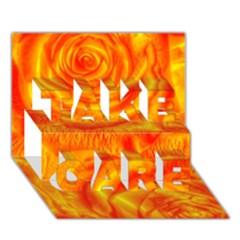 Gorgeous Roses, Orange TAKE CARE 3D Greeting Card (7x5)