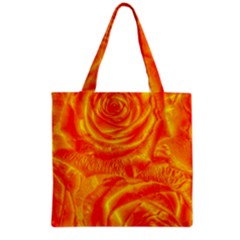 Gorgeous Roses, Orange Grocery Tote Bags