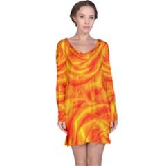 Gorgeous Roses, Orange Long Sleeve Nightdresses