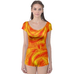 Gorgeous Roses, Orange Short Sleeve Leotard