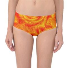 Gorgeous Roses, Orange Mid-Waist Bikini Bottoms