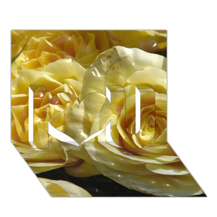 Yellow Roses I Love You 3D Greeting Card (7x5)