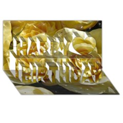 Yellow Roses Happy Birthday 3D Greeting Card (8x4)