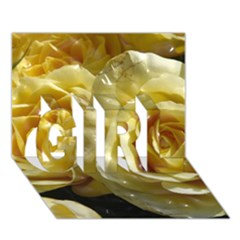 Yellow Roses GIRL 3D Greeting Card (7x5)