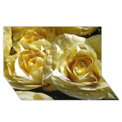 Yellow Roses Twin Hearts 3D Greeting Card (8x4)