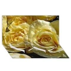 Yellow Roses Twin Heart Bottom 3d Greeting Card (8x4)