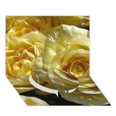 Yellow Roses Circle Bottom 3d Greeting Card (7x5)