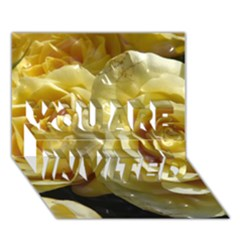 Yellow Roses YOU ARE INVITED 3D Greeting Card (7x5)