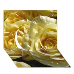 Yellow Roses Circle 3d Greeting Card (7x5)
