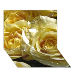 Yellow Roses Ribbon 3d Greeting Card (7x5)