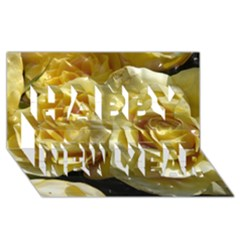 Yellow Roses Happy New Year 3D Greeting Card (8x4)