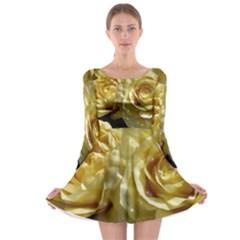 Yellow Roses Long Sleeve Skater Dress