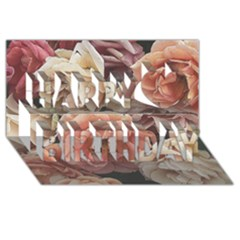 Great Garden Roses, Vintage Look  Happy Birthday 3d Greeting Card (8x4)