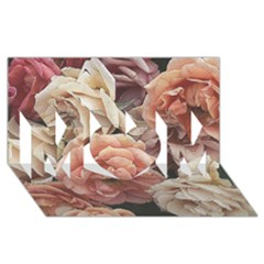 Great Garden Roses, Vintage Look  MOM 3D Greeting Card (8x4)