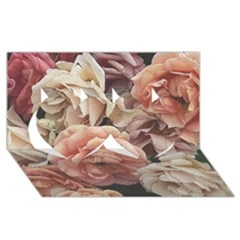 Great Garden Roses, Vintage Look  Twin Hearts 3d Greeting Card (8x4)