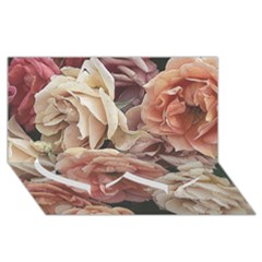 Great Garden Roses, Vintage Look  Twin Heart Bottom 3d Greeting Card (8x4)