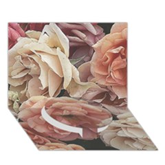 Great Garden Roses, Vintage Look  Circle Bottom 3D Greeting Card (7x5)
