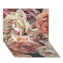 Great Garden Roses, Vintage Look  Clover 3d Greeting Card (7x5)