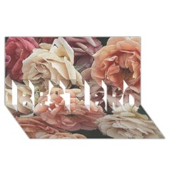 Great Garden Roses, Vintage Look  BEST BRO 3D Greeting Card (8x4)