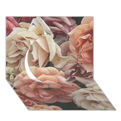 Great Garden Roses, Vintage Look  Circle 3D Greeting Card (7x5)