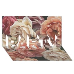 Great Garden Roses, Vintage Look  Party 3d Greeting Card (8x4)