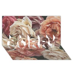 Great Garden Roses, Vintage Look  SORRY 3D Greeting Card (8x4)