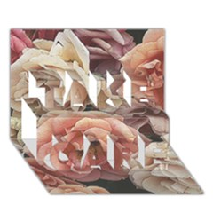 Great Garden Roses, Vintage Look  TAKE CARE 3D Greeting Card (7x5)