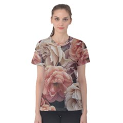 Great Garden Roses, Vintage Look  Women s Cotton Tees