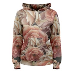 Great Garden Roses, Vintage Look  Women s Pullover Hoodies