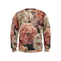 Great Garden Roses, Vintage Look  Boys  Sweatshirts