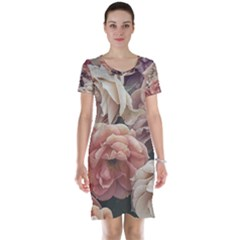 Great Garden Roses, Vintage Look  Short Sleeve Nightdresses