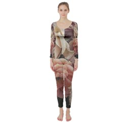 Great Garden Roses, Vintage Look  Long Sleeve Catsuit