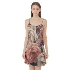 Great Garden Roses, Vintage Look  Satin Night Slip