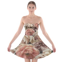 Great Garden Roses, Vintage Look  Strapless Bra Top Dress