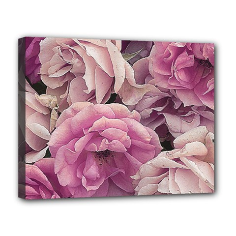 Great Garden Roses Pink Canvas 14  X 11