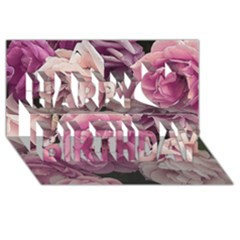 Great Garden Roses Pink Happy Birthday 3d Greeting Card (8x4)