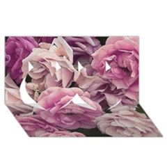 Great Garden Roses Pink Twin Hearts 3d Greeting Card (8x4)