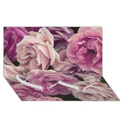 Great Garden Roses Pink Twin Heart Bottom 3d Greeting Card (8x4)