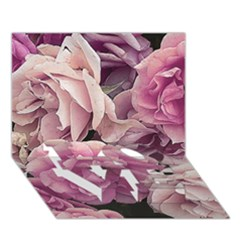 Great Garden Roses Pink LOVE Bottom 3D Greeting Card (7x5)