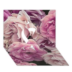 Great Garden Roses Pink Ribbon 3D Greeting Card (7x5)