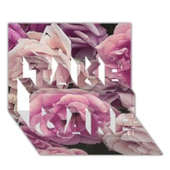 Great Garden Roses Pink TAKE CARE 3D Greeting Card (7x5)