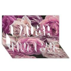 Great Garden Roses Pink Laugh Live Love 3D Greeting Card (8x4)
