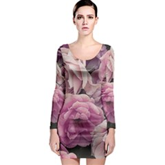 Great Garden Roses Pink Long Sleeve Bodycon Dresses