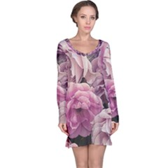 Great Garden Roses Pink Long Sleeve Nightdresses