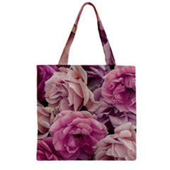 Great Garden Roses Pink Zipper Grocery Tote Bags