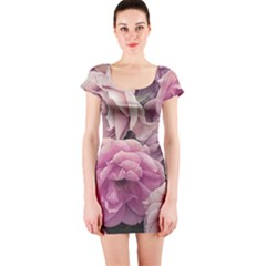 Great Garden Roses Pink Short Sleeve Bodycon Dresses