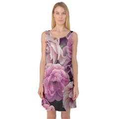 Great Garden Roses Pink Sleeveless Satin Nightdresses