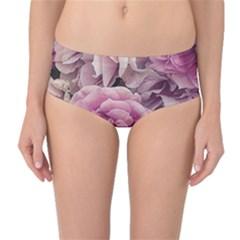 Great Garden Roses Pink Mid-Waist Bikini Bottoms