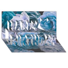 Great Garden Roses Blue Happy Birthday 3D Greeting Card (8x4)