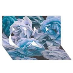 Great Garden Roses Blue Twin Hearts 3d Greeting Card (8x4)